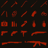 Vector weapon icons: baseball bat, ax, crowbar, telescopic baton, nunchaku, brass knuckles, knife, stun gun, handcuffs, first aid kit, ammo, grenade, pistol, revolver, Ingram, shotgun, AK-47 — Stock Vector