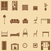 Vector set of 20 brown furniture  icons — Stock Vector
