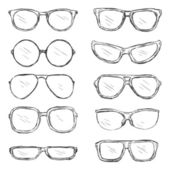 Vector Set of Sketch Eyeglass Frames — Stock Vector