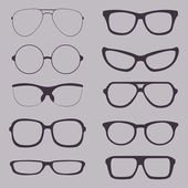 Vector Set of Glasses Silhouettes — Stock Vector