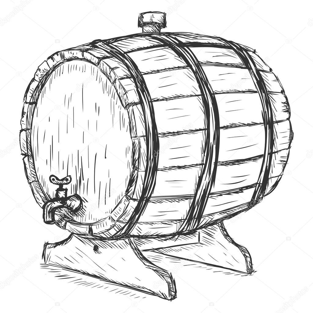 Beer Barrel Drawing Wooden Wine Barrel With