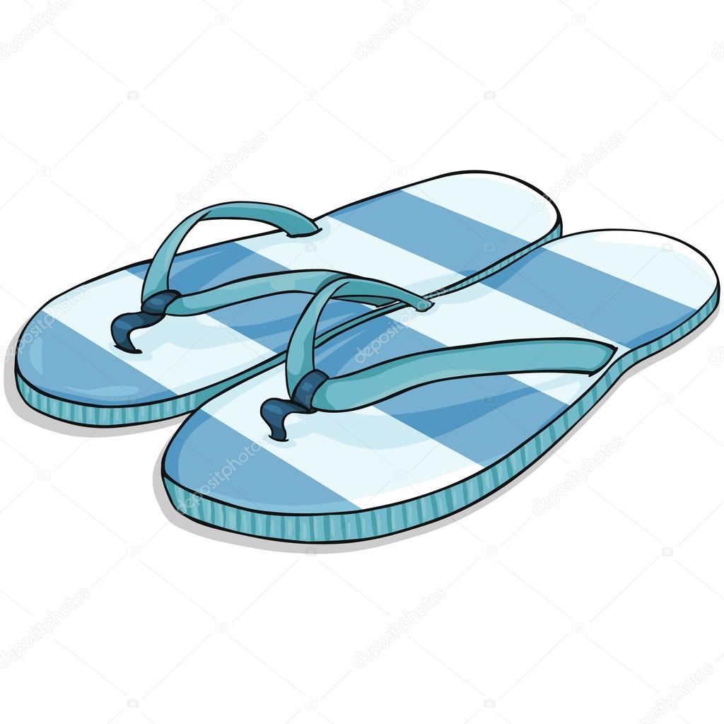 Vettore blu cartone animato spogliato ciabatte da spiaggia