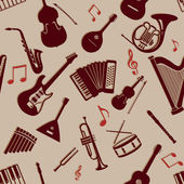 Vector Seamless Pattern of Musical Instriments — Stock Vector