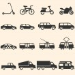 Vector Set of Ground Transportation Icons — Stock Vector