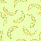 Vector Seamless Pattern of Sketch Bananas — Stock Vector