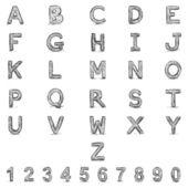 Vector Sketch Alphabet with Numbers — Stock Vector