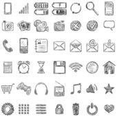 Vector Set of Sketch Mobile Icons — Stock Vector