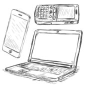 Vector Set of Mobile Digital Devices: smartphone, mobile phone, laptop — Stok Vektör