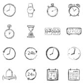 Vector Set of Sketch Time Icons — Stock Vector