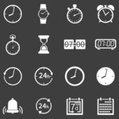 Vector Set of 16 White Time Icons — Stock Vector