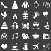 Vector Set of 25  White Wedding Icons — Stock Vector