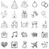 Vector Set of Sketch Weddings Icons — Stock Vector
