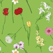 Vector naadloze patroon van bloemen — Stockvector