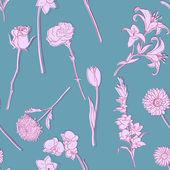 Vektor seamless mönster av blommor — Stockvektor