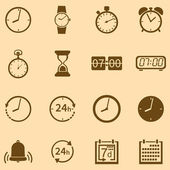 Vector Set of 16 Brown Time Icons — Stock Vector