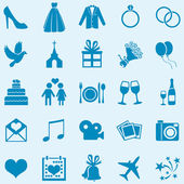 Vector Set of 25 Blue  Wedding Icons — Stock Vector