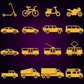 Vector Set of 16 Yellow Ground Transportation Icons — Stock Vector