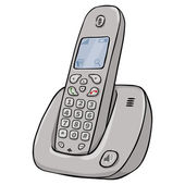Vector Cartoon Сordless Phone — Stock Vector