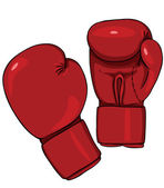 Vector Cartoon Red Boxing Gloves — Stock Vector