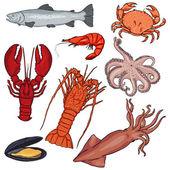 Cartoon Sea Food — Stock Vector