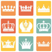 Set of Royal Crown Icons — Stock Vector