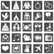 Vector Set of Color Square Wedding Icons — Stock Vector #47866549