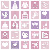 Vector Set of Color Square Wedding Icons — Stock Vector