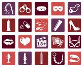 Vector Set of Sex Shop Icons — Vetor de Stock