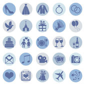 Set of Color Square Wedding Icons — Stock Vector