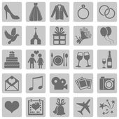 Set of Color Square Wedding Icons — Stockvektor