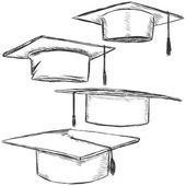 Vector Set of Sketch Academic Hats — Stock Vector