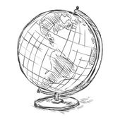 Sketch School Geographical Globe — Stock Vector