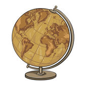 Cartoon Old Antique Geographical Globe — Stock Vector