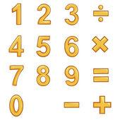 Vector Set of Gold Cartoon Figures. — Stock Vector