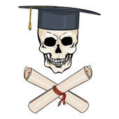 Academic Skull and Crossed Scrolls — Vector de stock