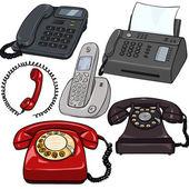 Set of Cartoon Telephones — Stock Vector