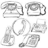 Set of Sketch Telephones — Stock Vector