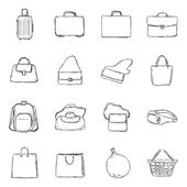 Set of Sketch Bags Icons — Stock Vector