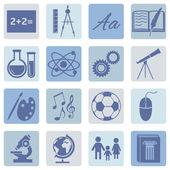 Escuela temas iconos — Vector de stock