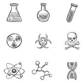 Sketch Chemistry  Icons — Stock Vector