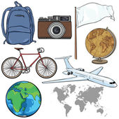 Set of Travel Objects and Signs — Stock Vector