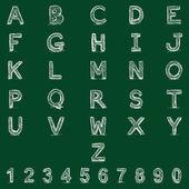 Handwritten Alphabet with Numbers — Stock Vector