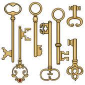 Cartoon Antique Keys. — Vetor de Stock