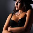 Portrait of a sexy girl in a black bra and wearing a black hat — Stock Photo