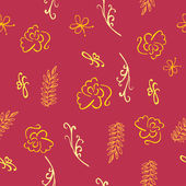 Burgundy Seamless floral pattern - Illustration — Vecteur