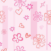 Seamless texture of pink hearts and flowers — Vettoriale Stock