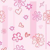 Nahtlose textur rosa herzen und blumen — Stockvektor