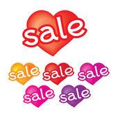 ícones de venda adesivos coloridos em forma de coração — Vetor de Stock
