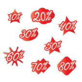 Percentage discounts of various forms — Stock Vector
