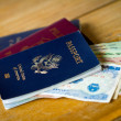 Passports and Vietnamese currency, Dong — Stock Photo